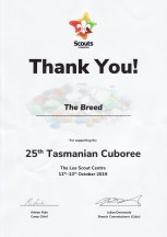 Certificate Of Appreciation - 25th Tasmanian cuboree